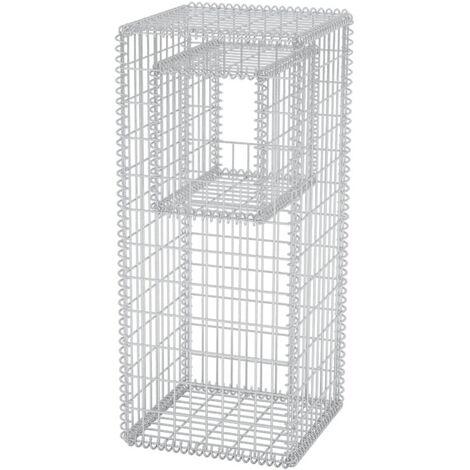 vidaXL Gabion Basket Post/Planter Steel 50x50x120 cm - Silver