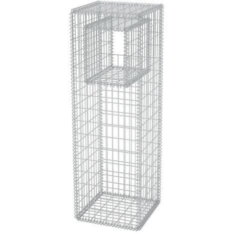 vidaXL Gabion Basket Post/Planter Steel 50x50x160 cm - Silver