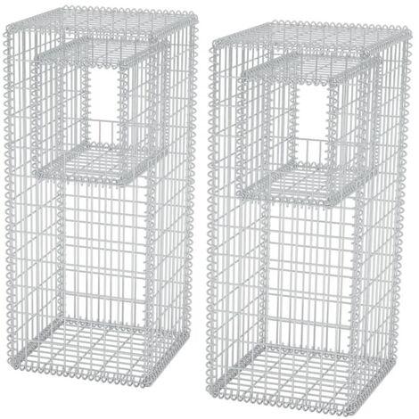 vidaXL Gabion Basket Posts/Planters 2 pcs Steel 50x50x120 cm - Silver