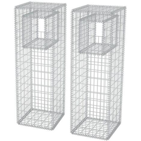 vidaXL Gabion Basket Posts/Planters 2 pcs Steel 50x50x160 cm - Silver