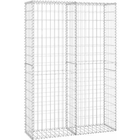 vidaXL Gabion Basket Retaining Wall with Lid Galvanized Wire Garden Multi Sizes