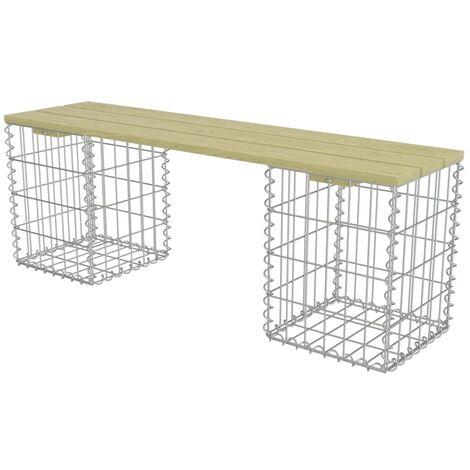 vidaXL Gabion Bench 120 cm Galvanised Steel and Pinewood - Green