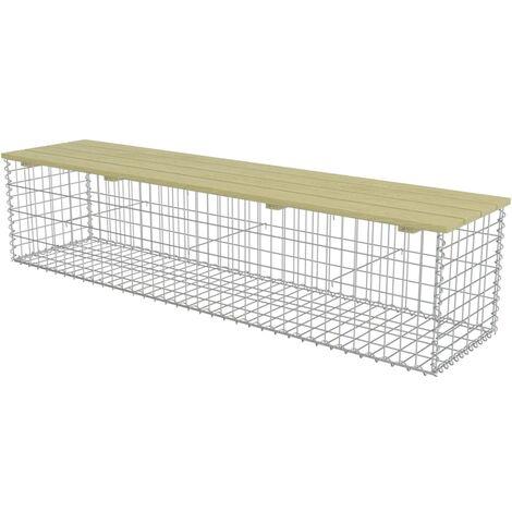 vidaXL Gabion Bench 170 cm Galvanised Steel and Pinewood - Green