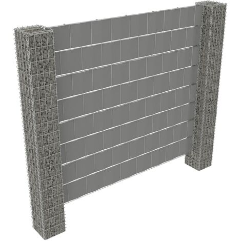 vidaXL Gabion Fence with 2 Posts Galvanised Steel and PVC 180x180 cm - Silver