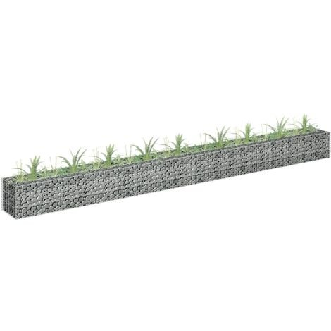 vidaXL Gabion Raised Bed Galvanised Steel 360x30x30 cm - Silver
