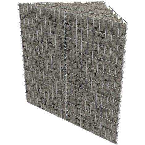 "main image of ""vidaXL Gabion Planter Galvanised Steel Stone Basket Bed 75x75x50cm/75x75x100cm"""