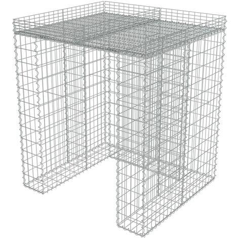 vidaXL Gabion Wall for Garbage Bin Gabion Cage for Garbage Bin Stone Basket for Garbage Bin Waste Container Enclosures Galvanised Steel Multi Size