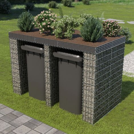 "main image of ""vidaXL Gabion Wall for Garbage Bin Gabion Cage for Garbage Bin Stone Basket for Garbage Bin Waste Container Enclosures Galvanised Steel Multi Size"""