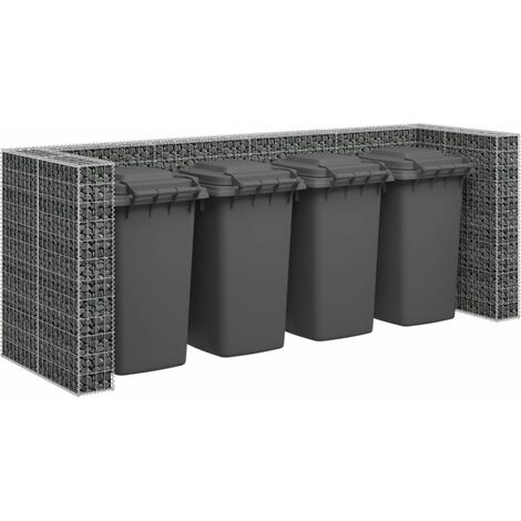 vidaXL Gabion Wall for Garbage Bins Galvanised Steel 320x100x120 cm - Silver