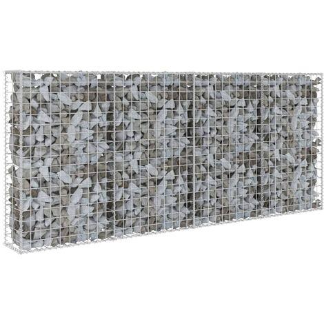 vidaXL Gabion Wall with Covers Galvanised Steel 200x20x85 cm - Silver