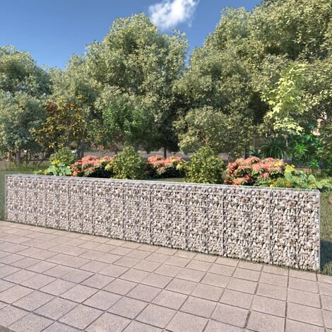 vidaXL Gabion Wall with Covers Galvanised Steel 600x30x100 cm - Silver