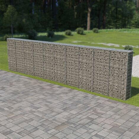 vidaXL Gabion Wall with Covers Galvanised Steel 600x30x150 cm - Silver