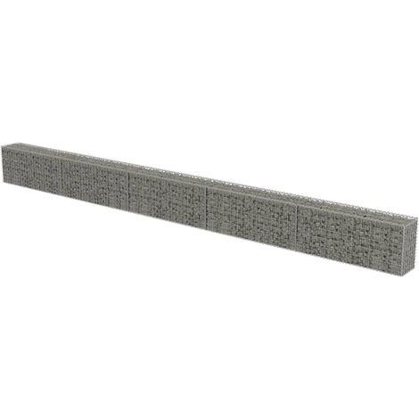vidaXL Gabion Wall with Covers Galvanised Steel 600x30x50 cm - Silver