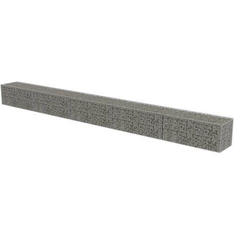 vidaXL Gabion Wall with Covers Galvanised Steel 600x50x50 cm - Silver