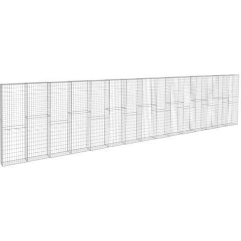 vidaXL Gabion Wall with Covers Galvanised Steel 900x50x200 cm - Silver