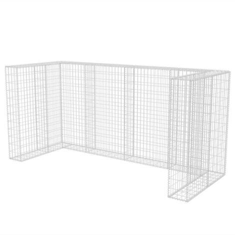 vidaXL Gabion Wheelie Bin Surround Household Supply Waste Containment Enclosure Garden Patio Backyard Storage Shed Steel Multi Sizes
