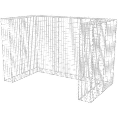 vidaXL Gabionen Mülltonnenverkleidung U-förmig Müllbox Steinkorb Mülltonnenbox Müllcontainer Verzinkter Stahl Silbern für 1/2/3 Tonnen