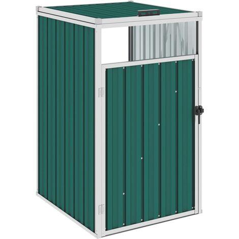 vidaXL Garbage Bin Shed Green 72x81x121 cm Steel - Green