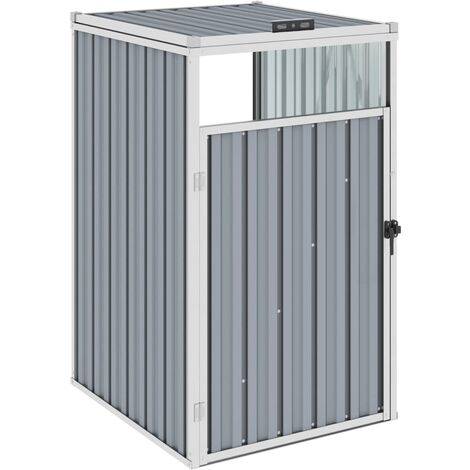 vidaXL Garbage Bin Shed Grey 72x81x121 cm Steel - Grey