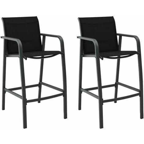 vidaXL Garden Bar Chairs 2 pcs Black Textilene - Black