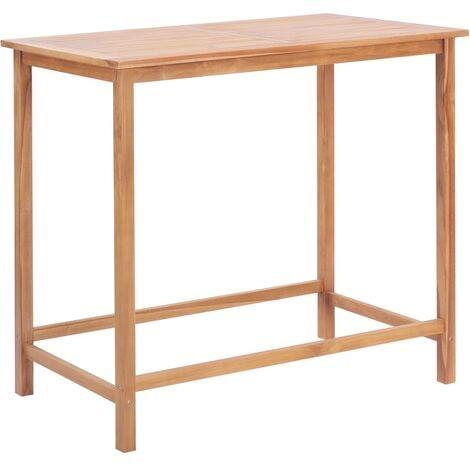 vidaXL Garden Bar Table Dining Room Patio Table Coffee Table Picnic Desk Side Table Outdoor Furniture Solid Teak Wood 65x65x110 cm/120x65x110 cm