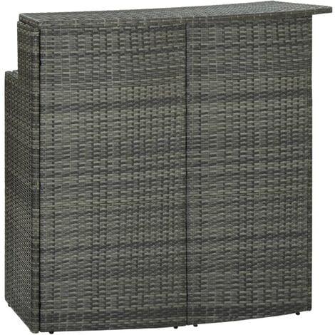 "main image of ""vidaXL Garden Bar Table Grey 120x55x110 cm Poly Rattan - Grey"""