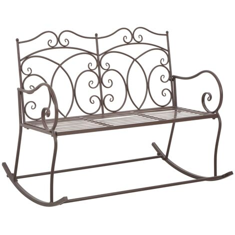 vidaXL Garden Bench 104cm Iron Outdoor Patio Seat Chair Antique White/Brown