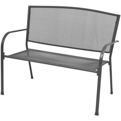 vidaXL Garden Bench 108 cm Steel and Mesh Anthracite - Anthracite
