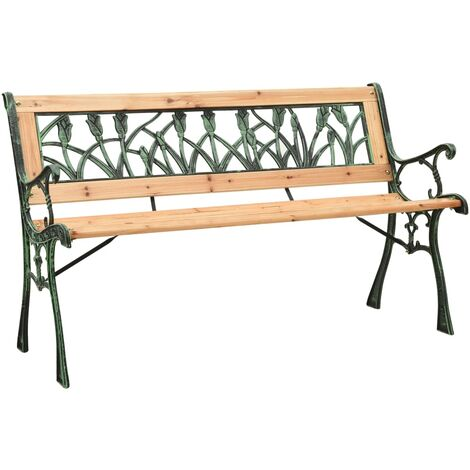vidaXL Garden Bench 122 cm Cast Iron and Solid Firwood