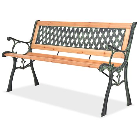 vidaXL Garden Bench 122cm Wood Rose-patterned Backrest Wooden Outdoor Patio Balcony Park Seat Seating Chair Furniture Multi Pattern