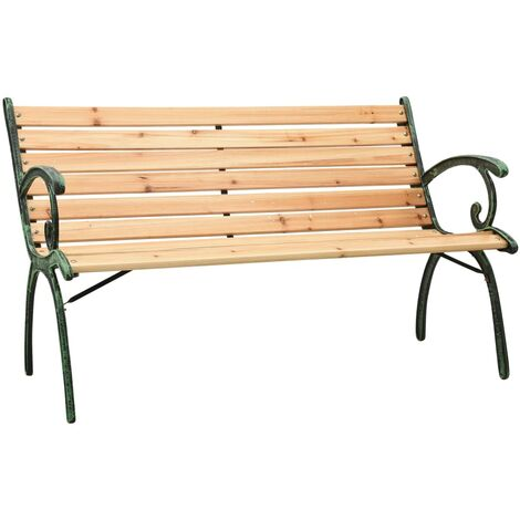 vidaXL Garden Bench 123 cm Cast Iron and Solid Firwood