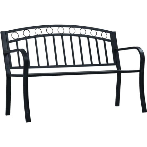 vidaXL Garden Bench 125 cm Black Steel - Black
