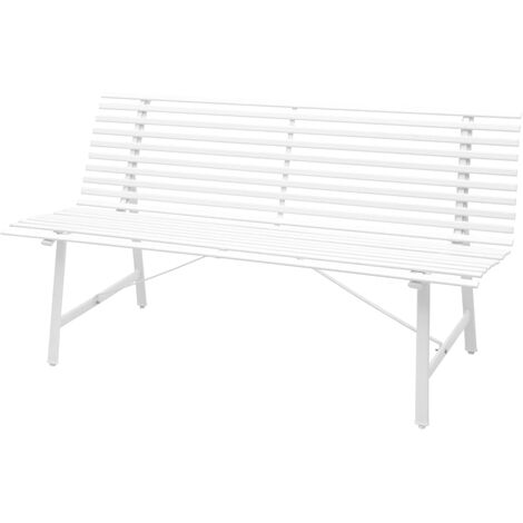vidaXL Garden Bench Steel 150x62x80cm Furniture Park Seat White/Anthracite