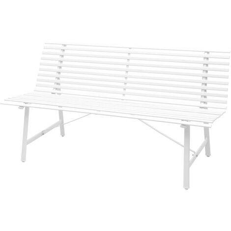 vidaXL Garden Bench Steel 150x62x80cm Furniture Park Seat White/Anthracite