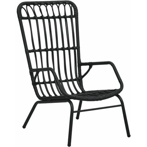 vidaXL Garden Chair Poly Rattan Black - Black