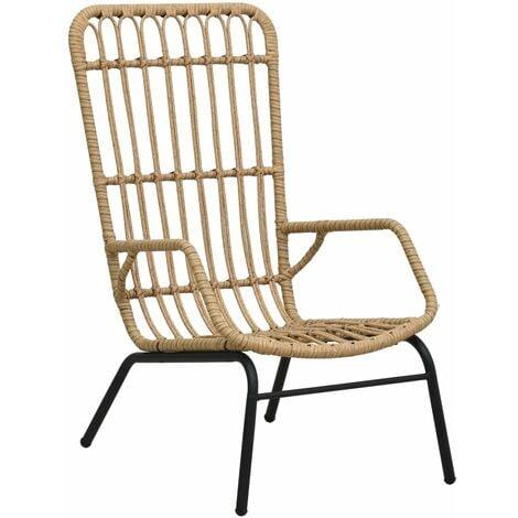 vidaXL Garden Chair Poly Rattan Light Brown - Brown