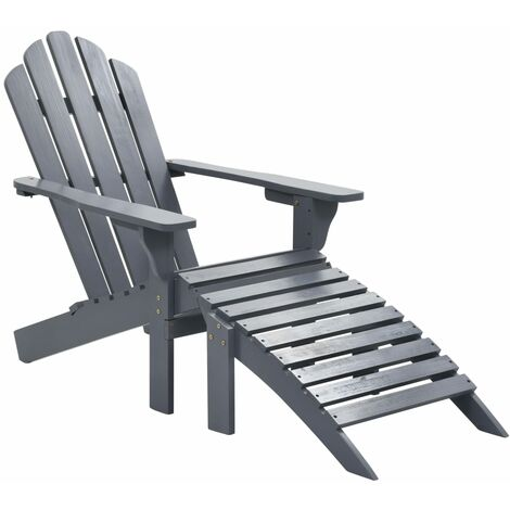 vidaXL Garden Chair with Ottoman Wood Grey - Grey