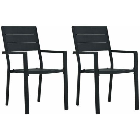 vidaXL Garden Chairs 2 pcs Black HDPE Wood Look - Black