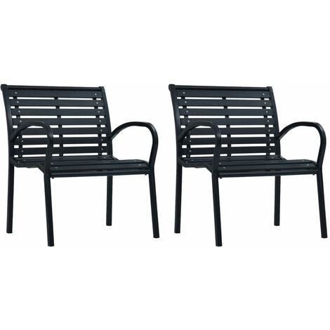 vidaXL Garden Chairs 2 pcs Black Steel and WPC - Black