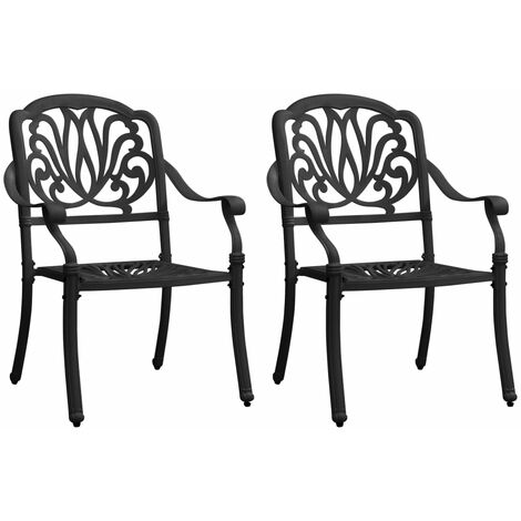 vidaXL Garden Chairs 2 pcs Cast Aluminium Black - Black