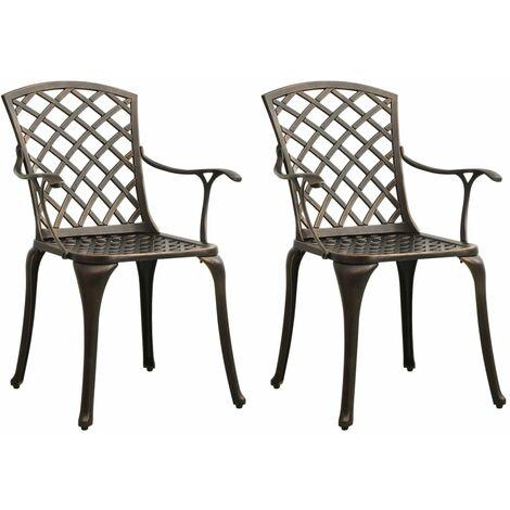 vidaXL Garden Chairs 2 pcs Cast Aluminium Bronze - Brown