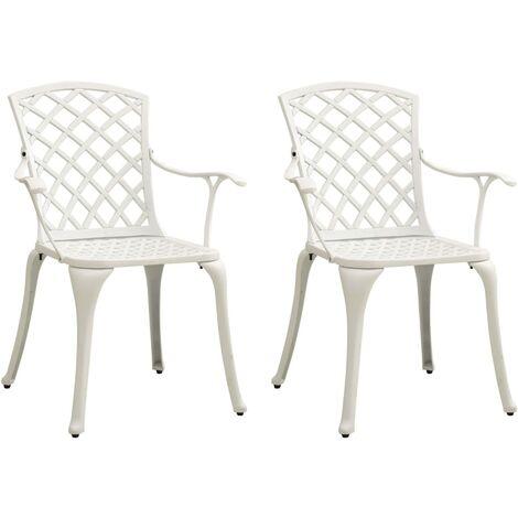 vidaXL Garden Chairs 2 pcs Cast Aluminium White - White