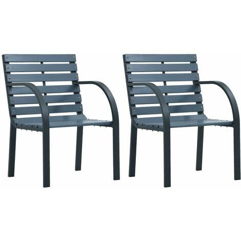 vidaXL Garden Chairs 2 pcs Grey Wood - Grey