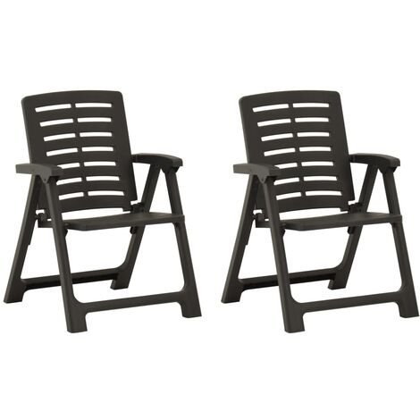 vidaXL Garden Chairs 2 pcs Plastic Anthracite - Anthracite