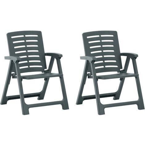vidaXL Garden Chairs 2 pcs Plastic Green - Green
