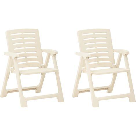 vidaXL Garden Chairs 2 pcs Plastic White - White