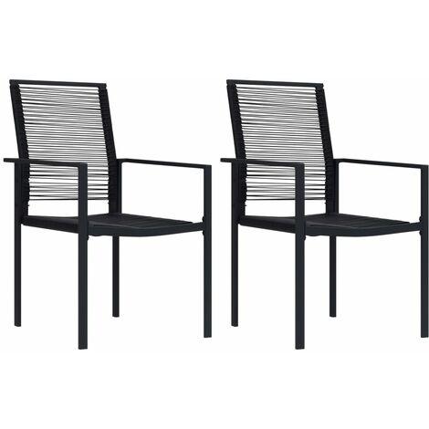 vidaXL Garden Chairs 2 pcs PVC Rattan Black - Black