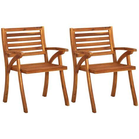 vidaXL Garden Chairs 2 pcs Solid Acacia Wood - Brown