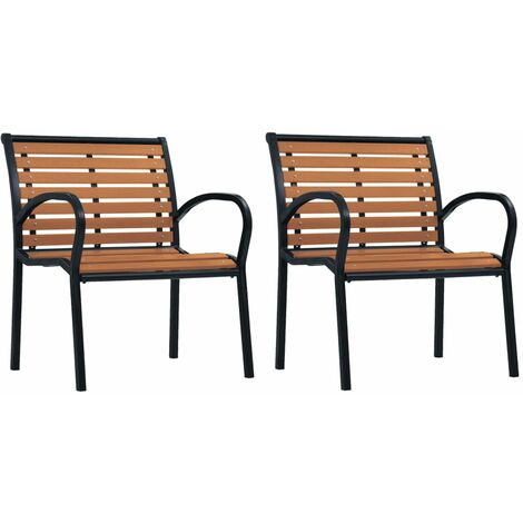 vidaXL Garden Chairs 2 pcs Steel and WPC Black and Brown - Black