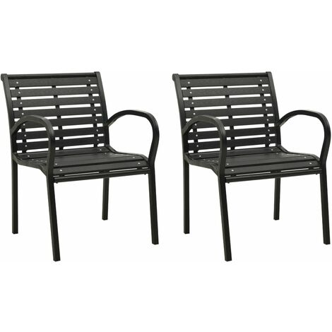 vidaXL Garden Chairs 2 pcs Steel and WPC Black - Black